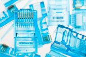 foto of contactor  - ethernet rj45 blue lan plugs - JPG