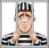 stock photo of jail  - A vector illustration of a sad prisoner locked in jail behind bars - JPG