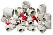 image of plumbing  - Plumbing fixtures and piping parts plastic fittings - JPG