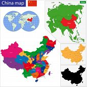 picture of cartographer  - Color map of the regions and divisions of China - JPG