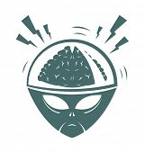 picture of inhumane  - Vector illustration of cartoon style mega brain alien - JPG