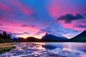 Sunset Above Vermilion Lakes, Banff National Park