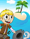image of character traits  - Smiling pirate on desert island - JPG