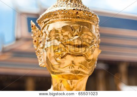 Traditional Thai Style Statue Of Guard At Wat Phra Kaeo, Temple