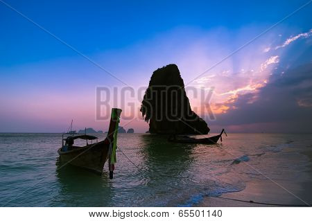 Sunset At Tropical Beach Landscape. Thai Traditional Long Tail B