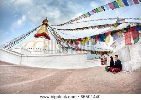 Couple Meditation Near Bodnath Stupa