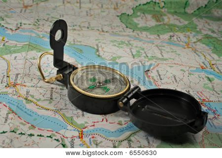 Compass On The Detailed Map