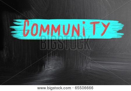 Community Handwritten With Chalk On A Blackboard