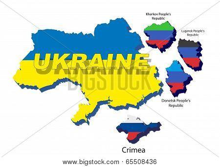 Separate regions of Ukraine, spring events in 2014.