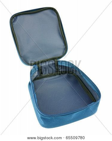 Blue Nylon Bag Open By Zipper Isolated