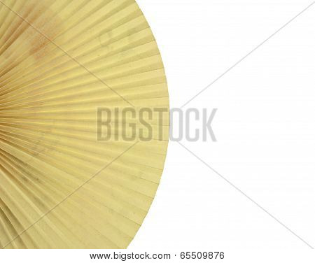Vintage Folding Paper Fan On Left Isolated
