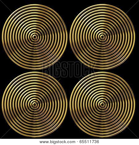 Abstract Of Gold Circles On Black