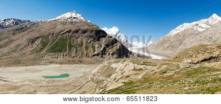 Glacier And Mountain Lake Panorama (zanskar, India)