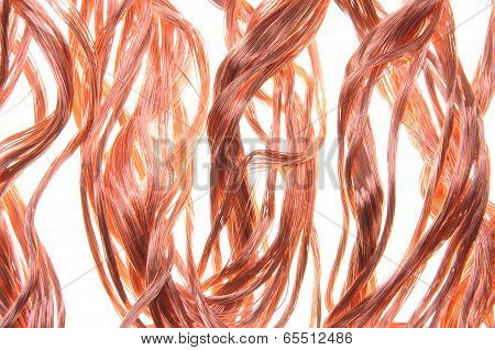 Red copper wire, industrial object