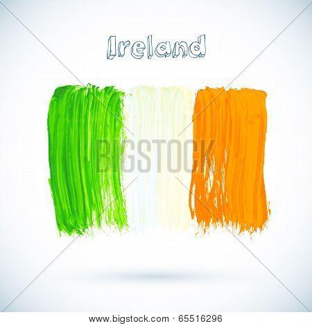 Painted Irish flag, vector illustration