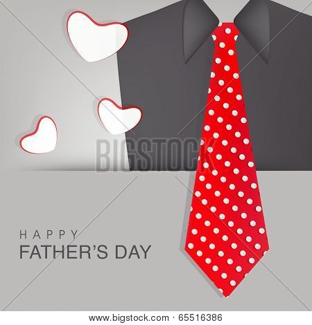 Happy Father's Day celebrations greeting card design with necktie and suit on grey background.