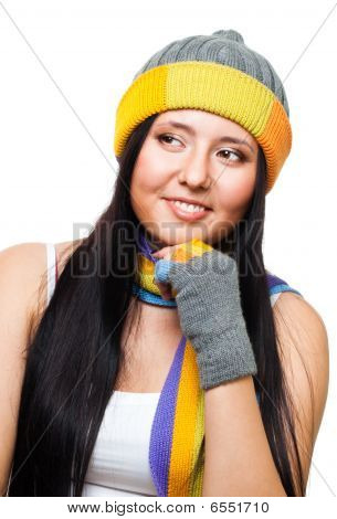 Woman Thinking Wearing Cap