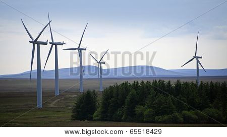 Wind turbine farm in a remote area of Scotland, Europe