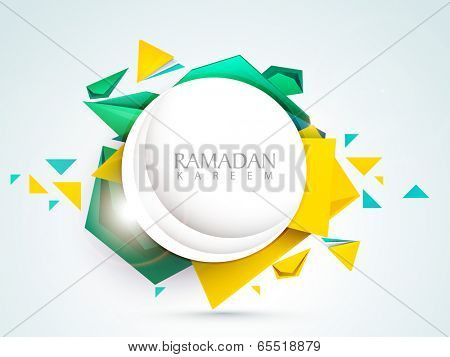 Stylish sticky with crescent moon and stylish text Ramadan Kareem on colorful abstract background for holy month of muslim community.