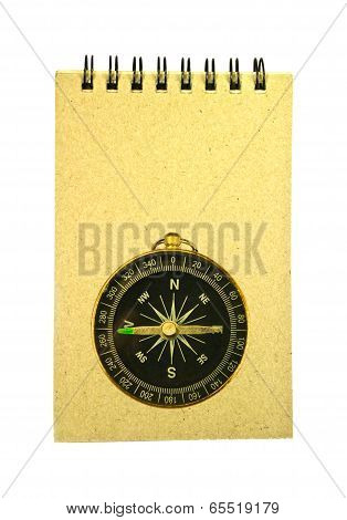Recycled Paper Notebook And Pocket Compass Isolated