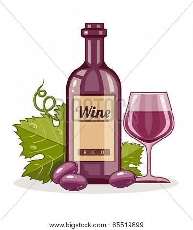 Red wine bottle and full goblet of drink. Eps10 vector illustration. Isolated on white background