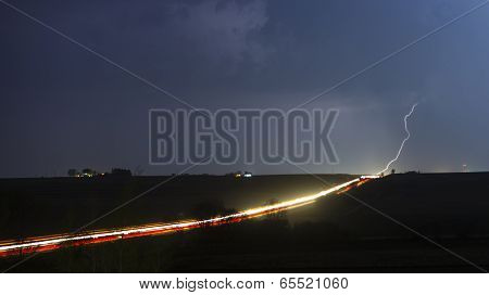 Real Lighting Bolt Over The Freeway