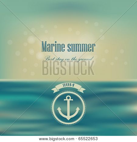 Corporate website design. Ribbon badge label over sea background. Vector Blurred. Unfocused