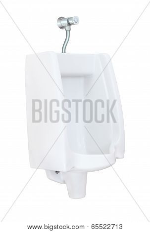 Side of urinal with flush valve on white background.