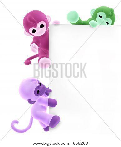 Three Monkeys On Sign Edge
