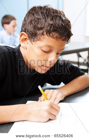 Intelligent school boy taking a standardized test in school.