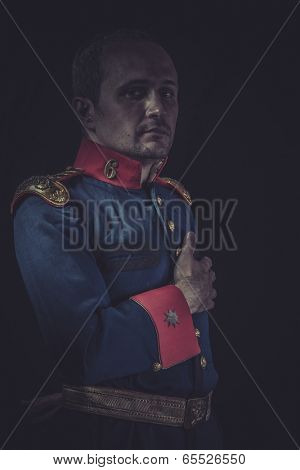 Fight, old soldier style jacket with blue and gold epaulettes, Spanish army