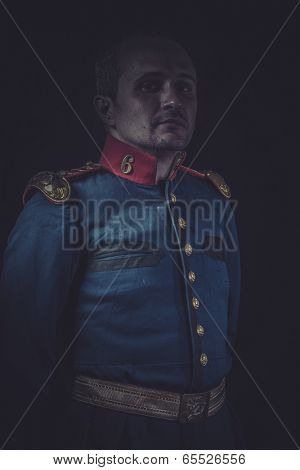 Uniform, old soldier style jacket with blue and gold epaulettes, Spanish army
