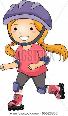 Illustration of a Little Girl Roller Blading