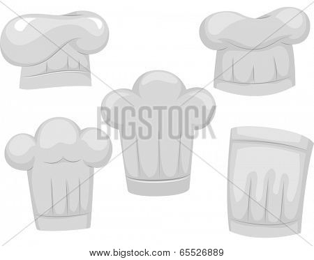 Illustration Featuring Different Chef Hats
