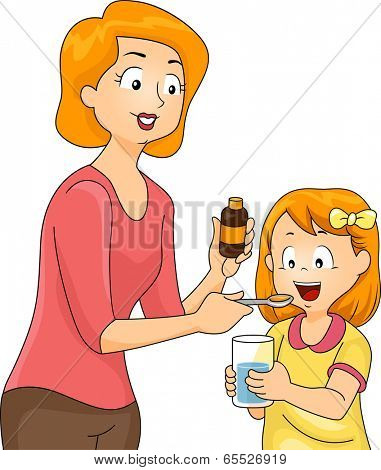 Illustration of a Mother Giving Her Daughter a Spoonful of Vitamin Supplements