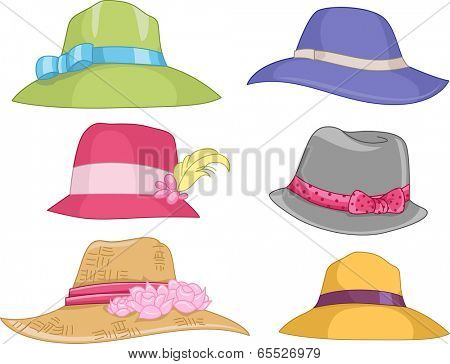 Illustration Featuring Different Designs of Women's Hats