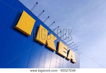 Samara, Russia - March  9, 2014: Sign Ikea At Ikea Samara Store. Ikea Is The World's Largest Furnitu