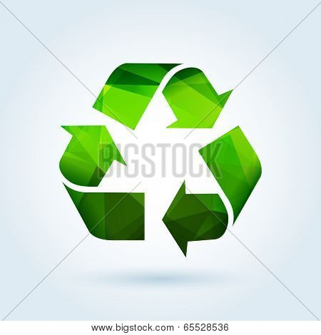 Recycling sign icon with modern triangle pattern