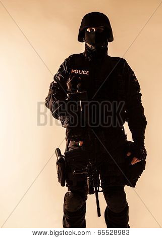 SWAT officer backlit