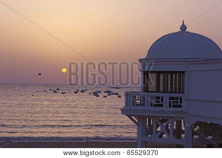 Old Seaside Resort On The Beach In Cadiz.