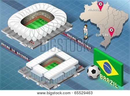Isometric Stadium Of Manaus And Curitiba, Brazil