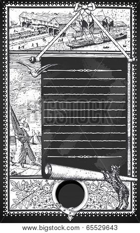 Vintage Page With Placeholder Menu On Blackboard