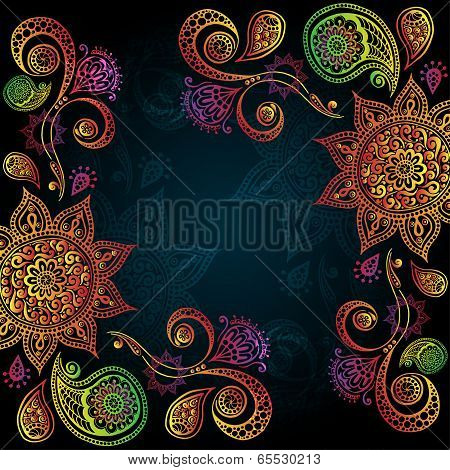 Background with Indian Ornament And Mandala