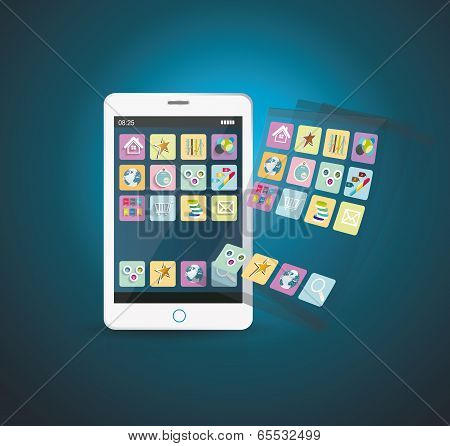 Smart phone and icons set