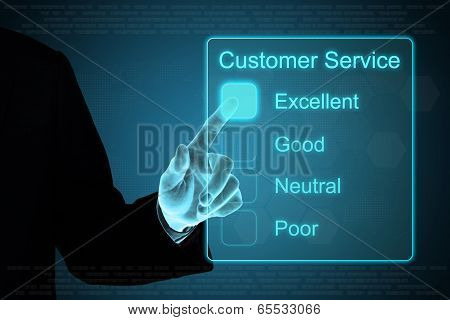 Business Hand Clicking Customer Service On Touch Screen