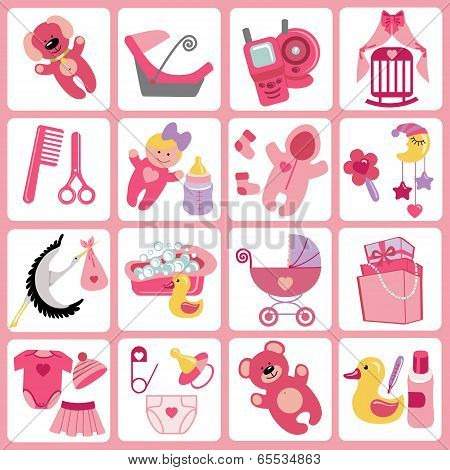 Cute Cartoons Icons For Baby Girl.newborn Set