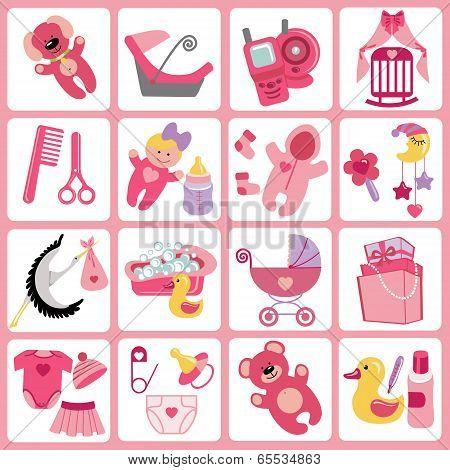 Cute Cartoons Icons For Baby Girl.newborn Set