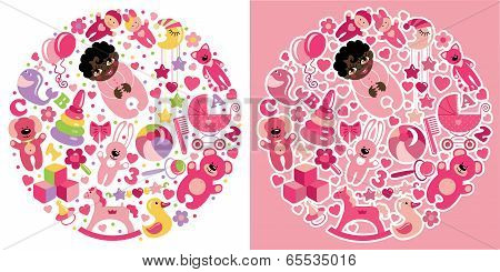 Toys Icons For Mulatto Baby Girl.circle Composition Set