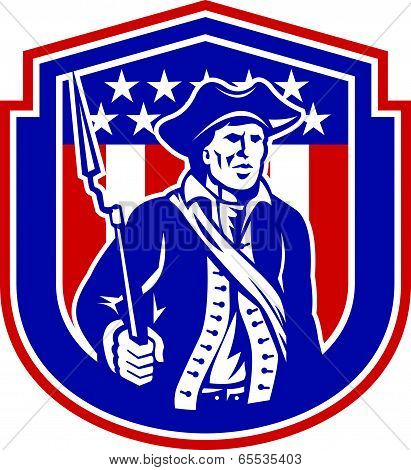 American Patriot Holding Bayonet Rifle Shield Retro