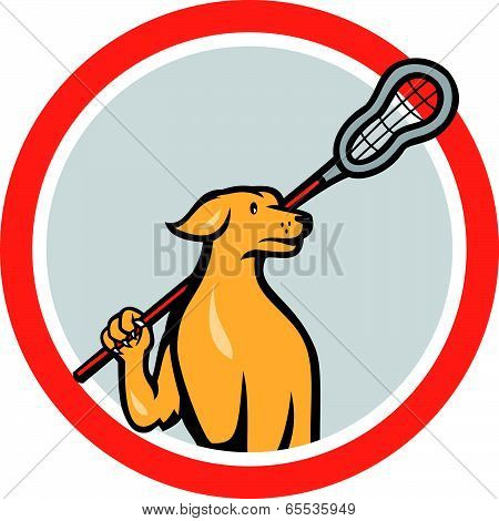 Dog Lacrosse Player Crosse Stick Cartoon Circle
